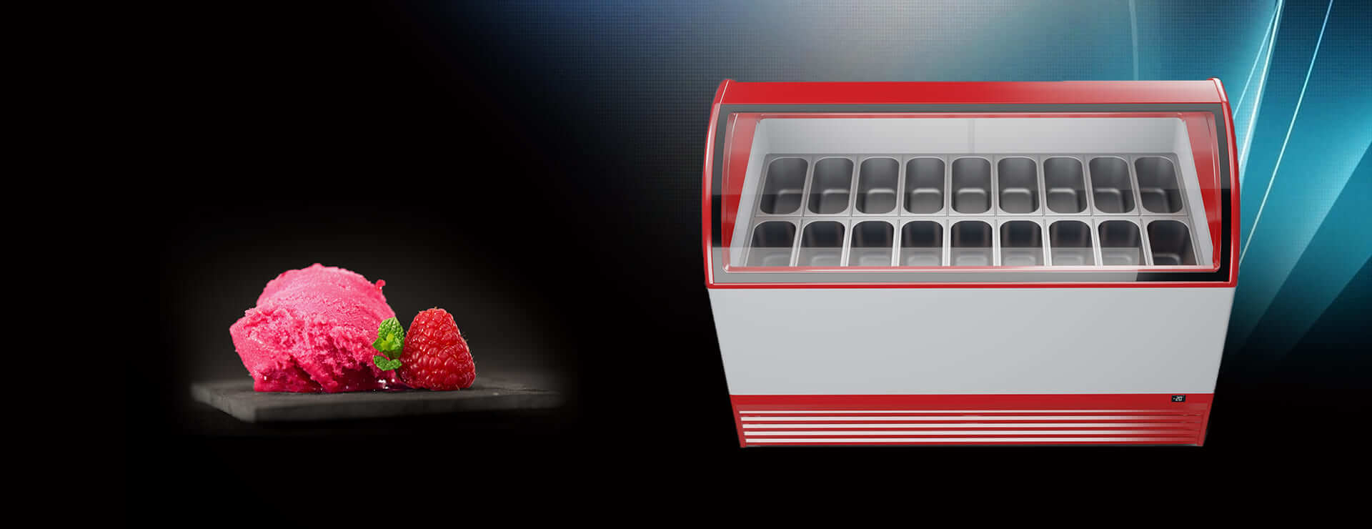 Scooping freezer M800Q for 18 gelato flavours TM JUKA